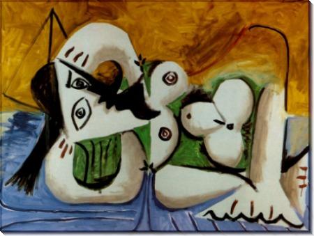 Обнаженная женщина,  лежащая на синем диване,1960 - Пикассо, Пабло