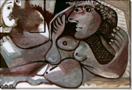 Лежащая обнаженная с венком, 1970 - Пикассо, Пабло