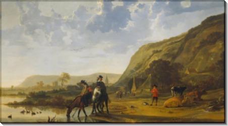 Речной пейзаж с всадниками - Кейп, Альберт Якобз