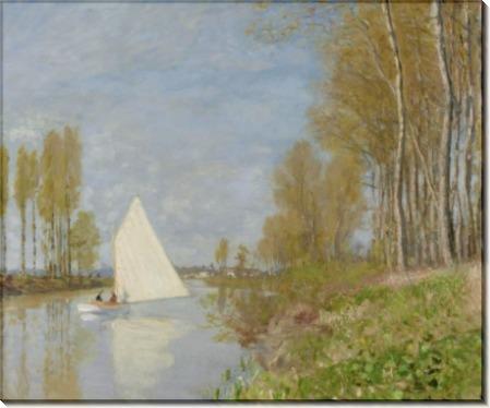 Небольшая лодка на  притоке Сены в Аржантее, 1872 - Моне, Клод