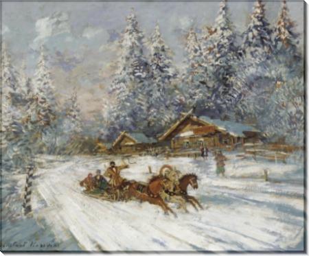 Соревнования на тройках по снегу - Коровин, Константин Алексеевич