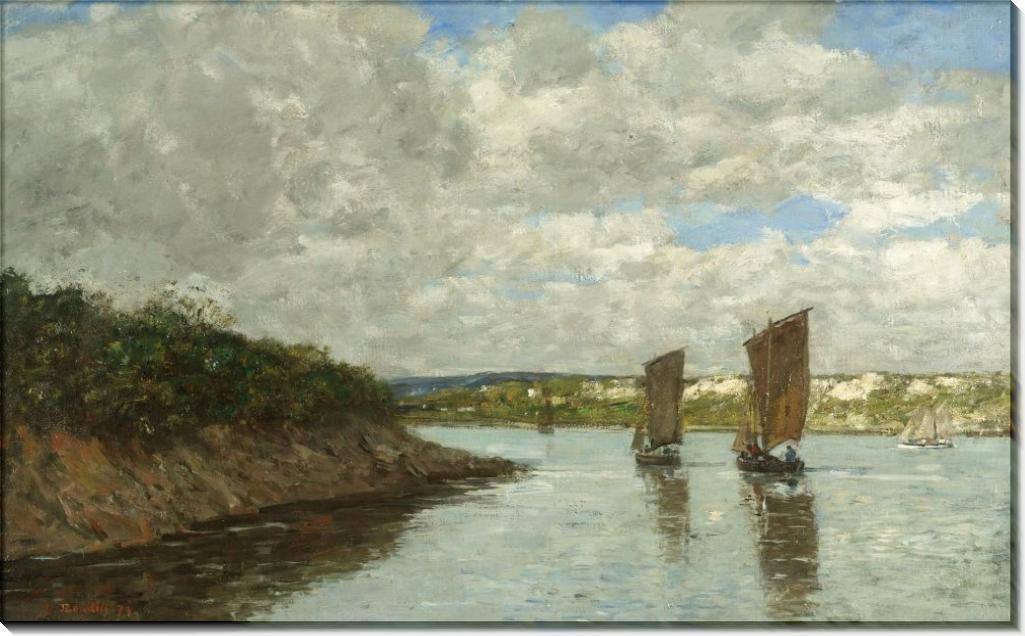Бретань, парусные лодки в заливе, 1872 - Буден, Эжен