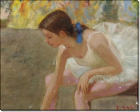 Мари-Лизе, молодая балерина с голубой лентой за кулисами - Галл, Франсуа