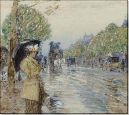 Дождливый день на авеню, 1893 - Хассам, Фредерик Чайлд