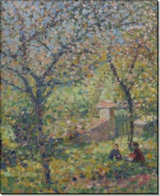 Дети художника, Кэтлин и Джордж в саду, Живерни, 1910 -  Бюхр, Карл Альберт
