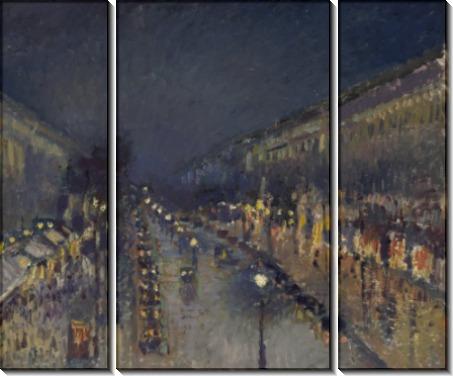 Бульвар Монмартр - ночь, 1897 - Писсарро, Камиль