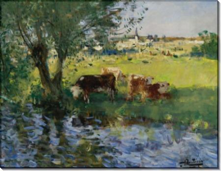 Коровы в тени ивы (Cows in the Willow`s Shade) - Монтезин, Пьер Эжен