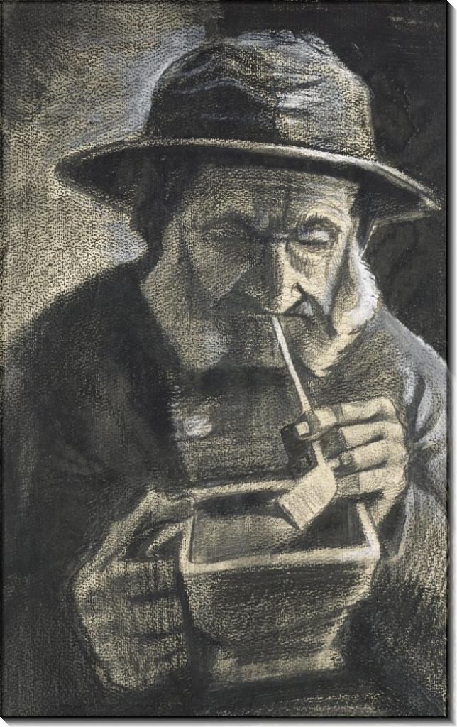 Рыбак в зюйдвестке с трубкой и угольной коробкой  (Fisherman with Souwester, Pipe and Coal Pan), 1883 - Гог, Винсент ван