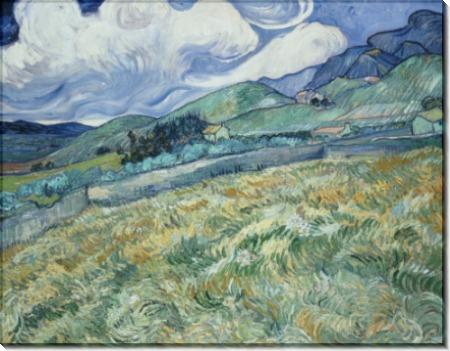 Пшеничное поле на фоне гор (Wheat Field with Mountains in the Background), 1890 - Гог, Винсент ван