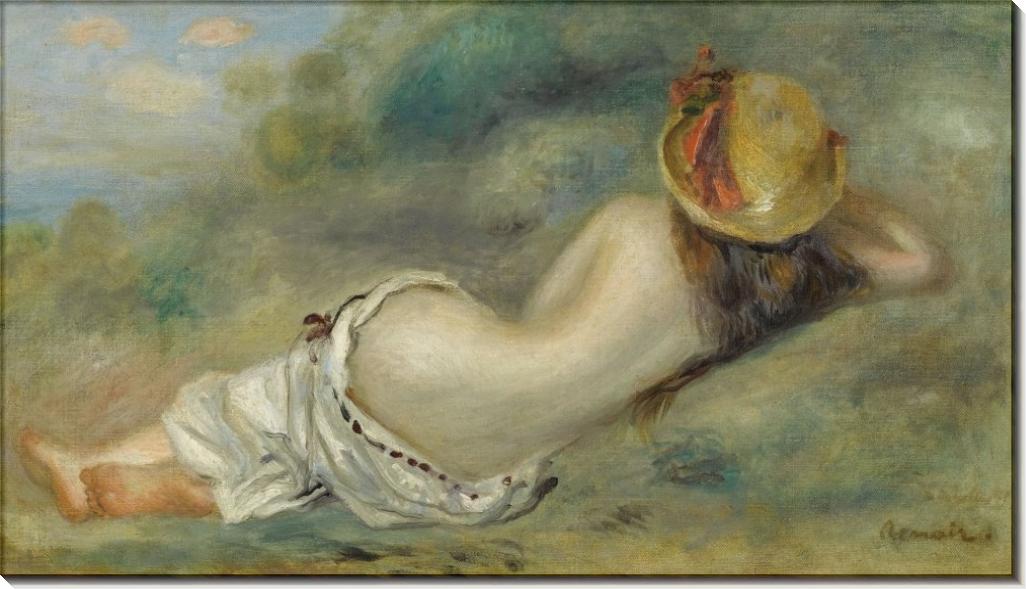Купальщица в шляпке, лежащая на траве, 1892 - Ренуар, Пьер Огюст