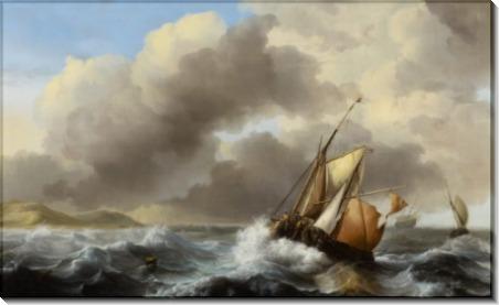 Рыболовные лодки в неспокойном море - Бакхейзен, Людольф
