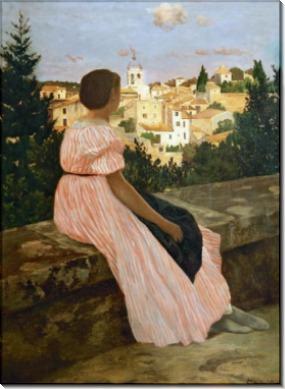 Розовое платье (Вид из Кастельно) - Базиль, Фредерик Жан