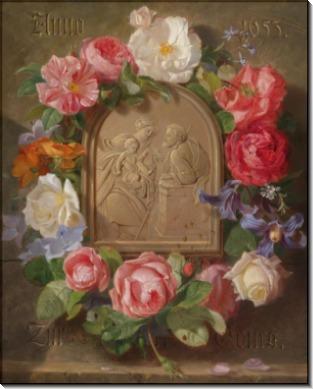 Святое Семейство в обрамлении цветочной гирлянды - Лауэр, Йозеф