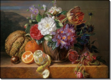 Натюрморт с цветами и фруктами - Ханен, Адриана ван