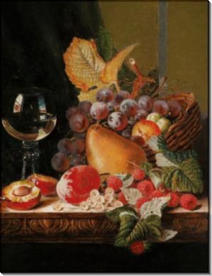 Натюрморт с фруктами и бокалом белого вина - Ладелл, Эдвард