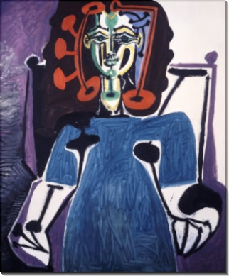 Дама в голубом на софе - Пикассо, Пабло
