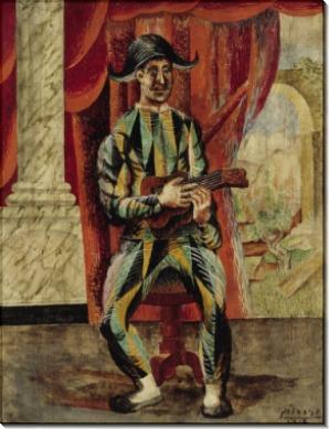 Арлекин с гитарой - Пикассо, Пабло