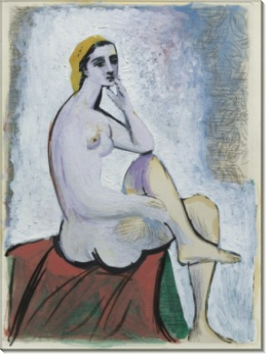 Купальщица на красном пуфе - Пикассо, Пабло