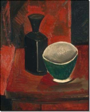 Зеленая миска и черная бутылка - Пикассо, Пабло