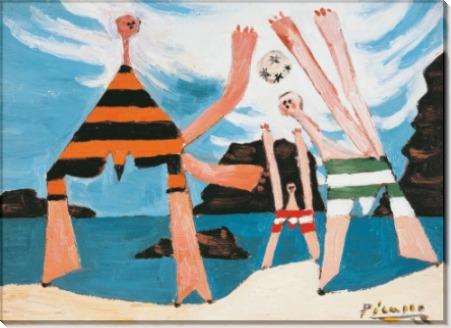 Купальщики, играющие в мяч на пляже - Пикассо, Пабло
