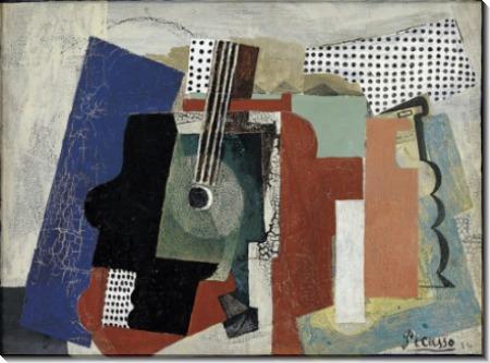 Натюрморт с гитарой и бутылками - Пикассо, Пабло