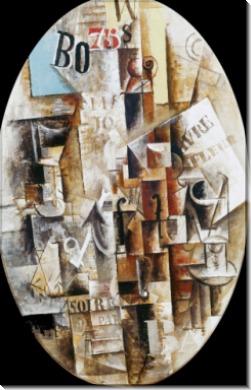 Скрипка, бокал, трубка и чернильница - Пикассо, Пабло