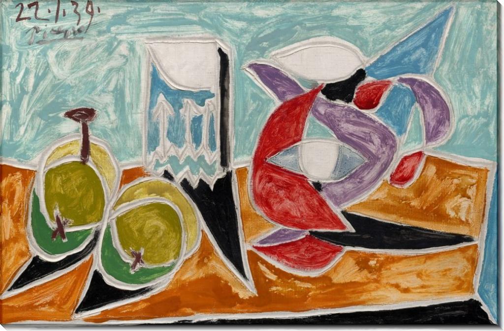 Натюрморт с кувшином и фруктами - Пикассо, Пабло