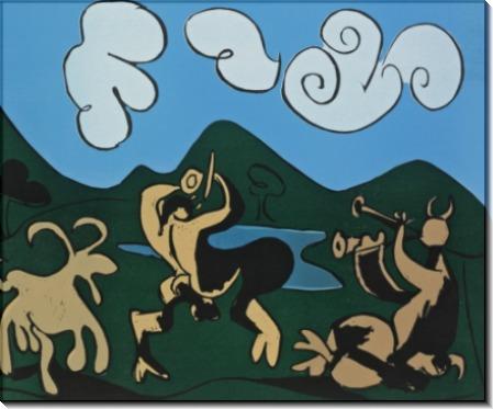 Фавны и коза - Пикассо, Пабло