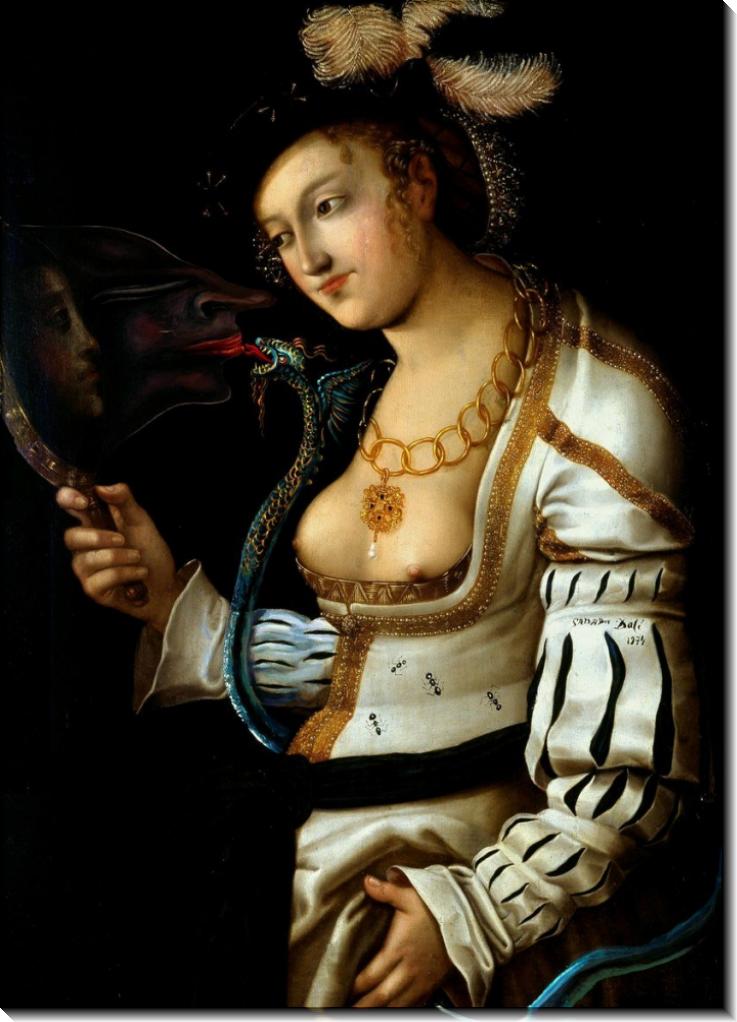 Метаморфоза Кранаха (женщина в зеркале) - Дали, Сальвадор
