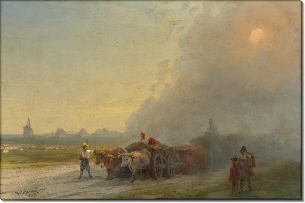 Повозка с быками в украинской степи - Айвазовский, Иван Константинович