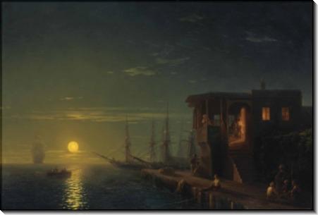 Оттоманская кофейня лунной ночью - Айвазовский, Иван Константинович