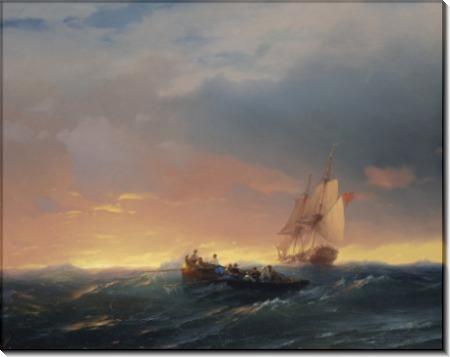 Шлюпка, плывущая к кораблю - Айвазовский, Иван Константинович