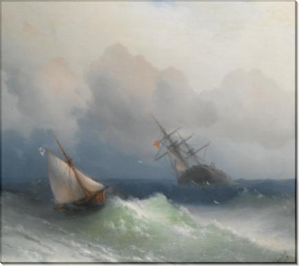 Два корабля в открытом море - Айвазовский, Иван Константинович