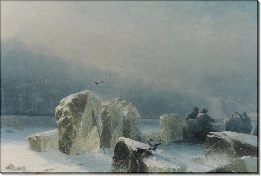 Дробильщики льда на замерзшей Неве - Айвазовский, Иван Константинович