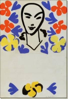 Лицо в окружении цветов - Матисс, Анри