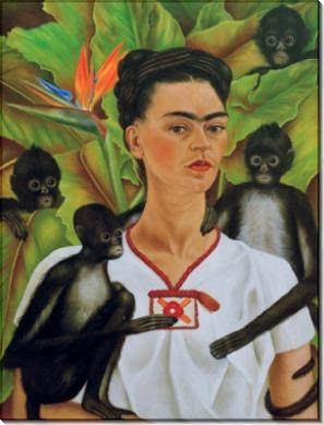 Автопортрет с обезьянками - Кало, Фрида