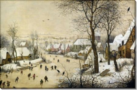 Пейзаж с конькобежцами и ловушкой для птиц - Брейгель, Питер (Старший)