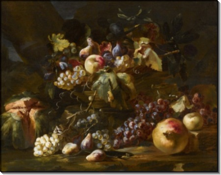 Корзина с виноградом и зеленой ящерицей - Брейгель, Абрахам
