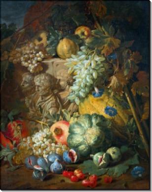 Яблоки, дыни, инжир, виноград и вишня с барельефом на фоне пейзажа - Брейгель, Абрахам