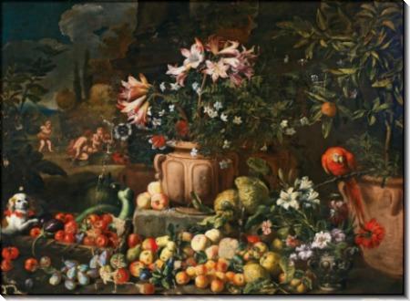Натюрморт с цветами и фруктами, путти и животными - Брейгель, Абрахам