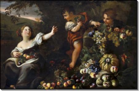 Большой цветочный натюрморт с девушкой и двумя мальчиками - Брейгель, Абрахам