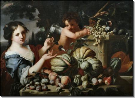 Аллегория осени -  девушка и путто с натюрмортом - Брейгель, Абрахам