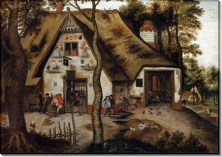 Уличная сценка у таверны Святой Михаил - Брейгель, Питер (Младший)