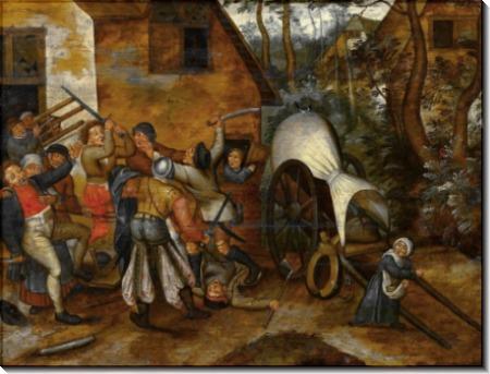 Драка между крестьянами и солдатами - Брейгель, Питер (Младший)