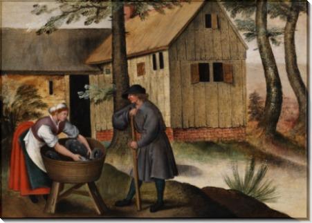 Пастух гусей и крестьянка - Брейгель, Питер (Младший)