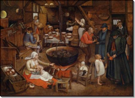 Посещение крестьянского дома - Брейгель, Питер (Младший)