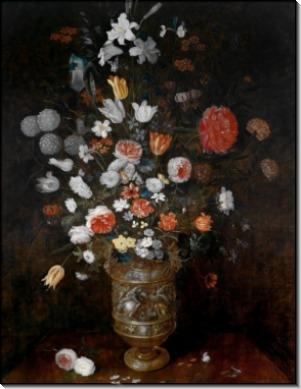 Цветы в резной позолоченной вазе - Брейгель, Ян (младший)
