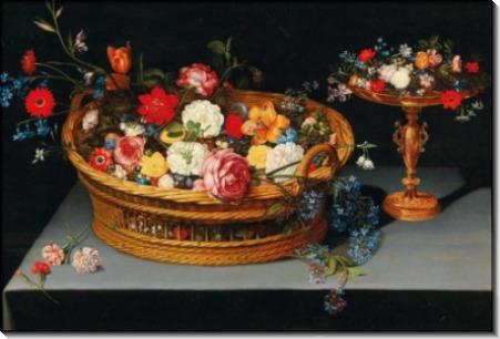 Корзина и чаша с розами, тюльпанами и лилиями - Брейгель, Ян (младший)