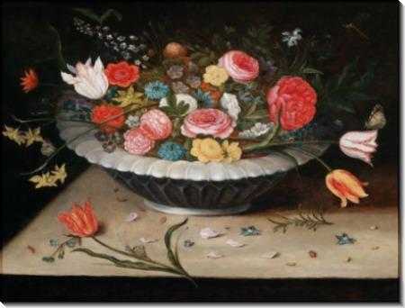 Ваза с тюльпанами, розами и нарциссами - Брейгель, Ян (младший)