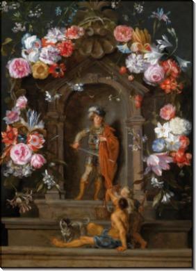 Святой Мартин и нищий в картуше с цветочными гирляндами - Брейгель, Ян (младший)